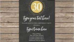 Editable 30th Birthday Invitations 30th Birthday Invitation Template Chalkboard Gold