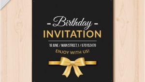 Elegant Birthday Invitation Vector Template Elegant Birthday Invitation with Golden Details Vector