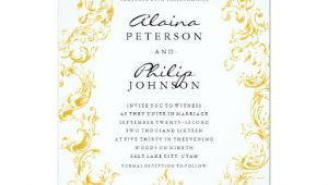 Elegant Gold Wedding Invitation Template Elegant Gold Frame Wedding Invitation Template Zazzle