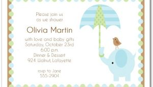 Elephant Baby Shower Invitations for Boys Elephant & Umbrella Boy Baby Shower Invitations