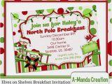 Elf On the Shelf Party Invitations Elves On Shelves north Pole Breakfast Invitation Adorable
