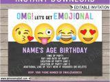 Emoji Party Invitation Template Emoji Invitation Template Emoji Birthday Party theme