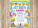 Emoji Pool Party Invitations Emoji Pool Party Invitation Printable Swim Party Beach Pool