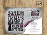 Escape Room Party Invitation Ideas Escape Room Invite Gray Girls or Boys Birthday Pink