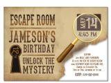 Escape Room Party Invitation Template Free Escape Room Invite Boys or Girls Birthday Invitation Gold