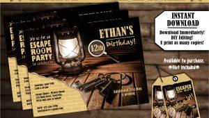 Escape Room Party Invitation Template Free Instant Download Escape Room Party Invitations 5×7 4×6