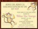 Etsy Com Baby Shower Invitations Items Similar to Twin Girls Monkey Baby Shower Invitation