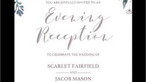 Evening Wedding Invitation Template Floral Wedding evening Reception Invite Template Stg1