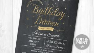 Example Of Birthday Dinner Invitation Birthday Dinner Party Invite Instant Download Any Age 30th