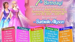 Example Of Invitation Card for 7th Birthday Sample 7th Birthday Invitation Card