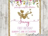 Fairy 1st Birthday Invitations Fairy First Birthday Invitations Pink Floral Gold Glitter