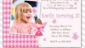 Fairy First Birthday Invitations Pink Fairy Birthday Invitation Custom Any Age Girl 1st