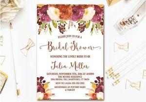 Fall Bridal Shower Invitations Free Fall Floral Bridal Shower Invitation Rustic Autumn