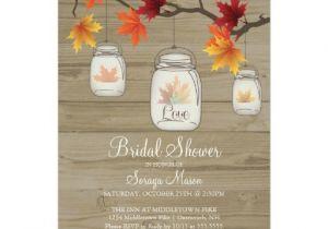 Fall Bridal Shower Invitations Free Fall Leaves Mason Jar Bridal Shower Wood Grain 5×7 Paper