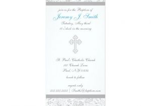 "Fancy Baptism Invitations Boy Elegant Cross Christening Invitations 4"" X 9 25"