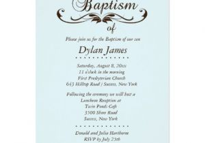 Fancy Baptism Invitations Elegant Font Blue Baptism Invitation