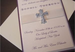 Fancy Baptism Invitations Munion Baptism Christening Cross Fancy Purple Silver and