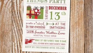 Favorite Things Party Invitation Wording Modern My Favorite Things Party Invitation On Brown Linen