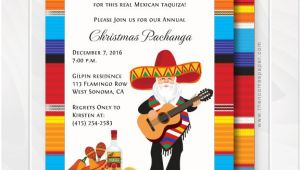 Fiesta Christmas Party Invitations Mexican Zarape and Mariachi Santa Christmas Holiday Party