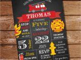 Firefighter themed Wedding Invitations Chalkboard Fireman Invitation Firefighter Birthday Party