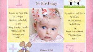 First Birthday and Baptism Invitation Wording 1st Birthday and Christening Baptism Invitation Sample