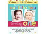 First Birthday Invitations for Twins Colorful Fun Twins First Birthday Invitation