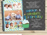 First Birthday Invitations for Twins Twin First Birthday Invitation Boy Twin 1st Birthday Invite