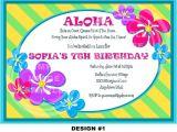 Flower themed Birthday Party Invitation Wording 20 Luau Birthday Invitations Designs