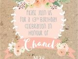 Flower themed Birthday Party Invitation Wording Boho themed 13th Birthday Party Oh It S Perfect