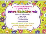 Flower themed Birthday Party Invitation Wording Retro Flower Power 70s Birthday Party Invitations