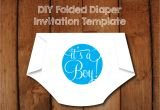 Folded Baby Shower Invitations Diy Folded Diaper Baby Shower Invitation Template with