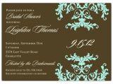 Formal Bridal Shower Invitations formal Side Pattern Turquoise Bridal Shower Invitations