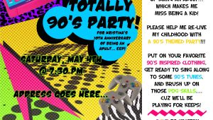 Free 90s Party Invitation Template themed Parties… the 90's