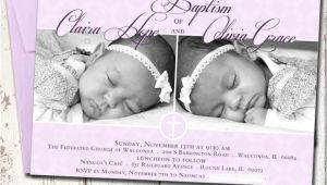 Free Baptism Invitations for Twins Custom Twins Baby Girls Baptism Invitation Christening
