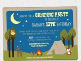 Free Camping Birthday Party Invitation Templates Camping Party Invitation Birthday Summer Woodland Animals