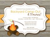 Free Camping Birthday Party Invitation Templates Rustic S 39 Mores Camp Out Invitations Bonfire Invitation