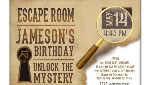 Free Escape Room Birthday Party Invitations Escape Room Invite Boys or Girls Birthday Invitation Gold