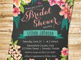 Free Hawaiian themed Bridal Shower Invitations Chalkboard Tropical Bridal Shower Invitation island Flowers