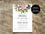 Free Instant Download Bridal Shower Invitations Bridal Shower Tea Party Invitation Instant Download
