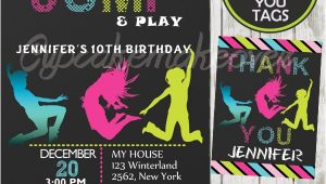 Free Jump Party Invitations Bounce Play Birthday Invitation for Girls Personalized