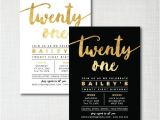 Free Male 21st Birthday Invitations Modern Gold Foil 21st Birthday Printable Digital