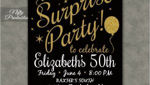 Free Online Surprise Birthday Party Invitations Surprise Party Invitations Printable Black Gold Surprise