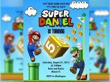 Free Personalized Super Mario Birthday Invitations Super Mario Invitation Mario & Luigi Mario Bros Birthday