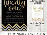 Free Printable 21st Birthday Invitations Twenty First 21st Birthday Chevron Invitation Printable