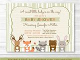 Free Printable Baby Shower Invitations Woodland Animals Woodland Animals Fox Deer Bear Neutral Baby Shower