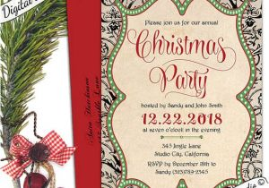 Free Printable Elegant Christmas Party Invitations Elegant Christmas Invitation Christmas Holiday by