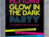 Free Printable Glow In the Dark Birthday Party Invitations Glow In the Dark Party Invitation for Birthday Black