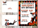 Free Printable Harley Quinn Birthday Invitations Harley Quinn Invitation Birthday Baby Shower Dc Ics