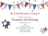 Free Printable Patriotic Birthday Invitations July 4th Patriotic Birthday Invitation Printable and Custom