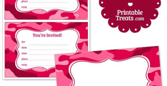 Free Printable Pink Camo Birthday Invitations Printable Pink Camo Invitations Printable Treats Com